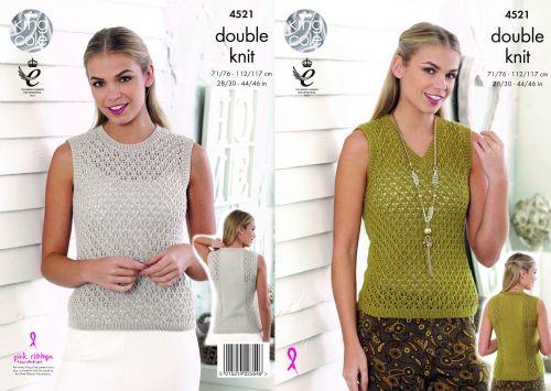 4521 Knitting Pattern DK - Lace Top 28/30 - 44/46