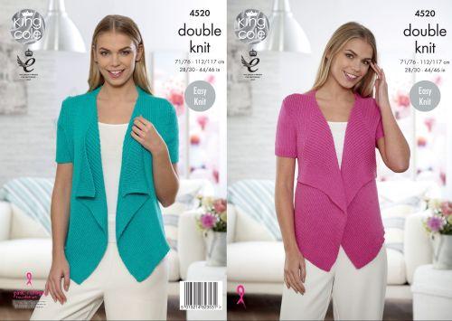 4520 Knitting Pattern - Ladies Waterfall Cardigan in DK 28/30 - 44/46