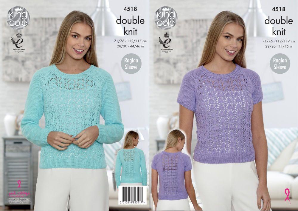 4518 Knitting Pattern - Ladies DK Sweater 28/30 - 44/46