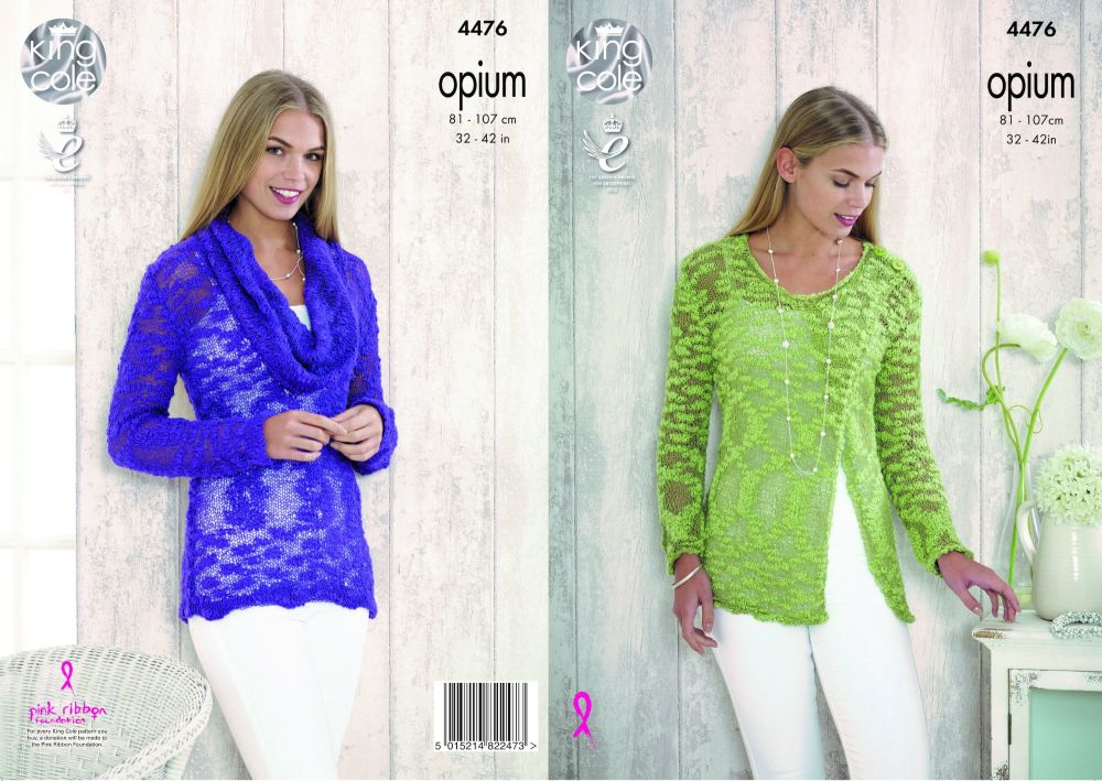 4476 Knitting Pattern - Ladies Sweaters in Opium 32 -  42