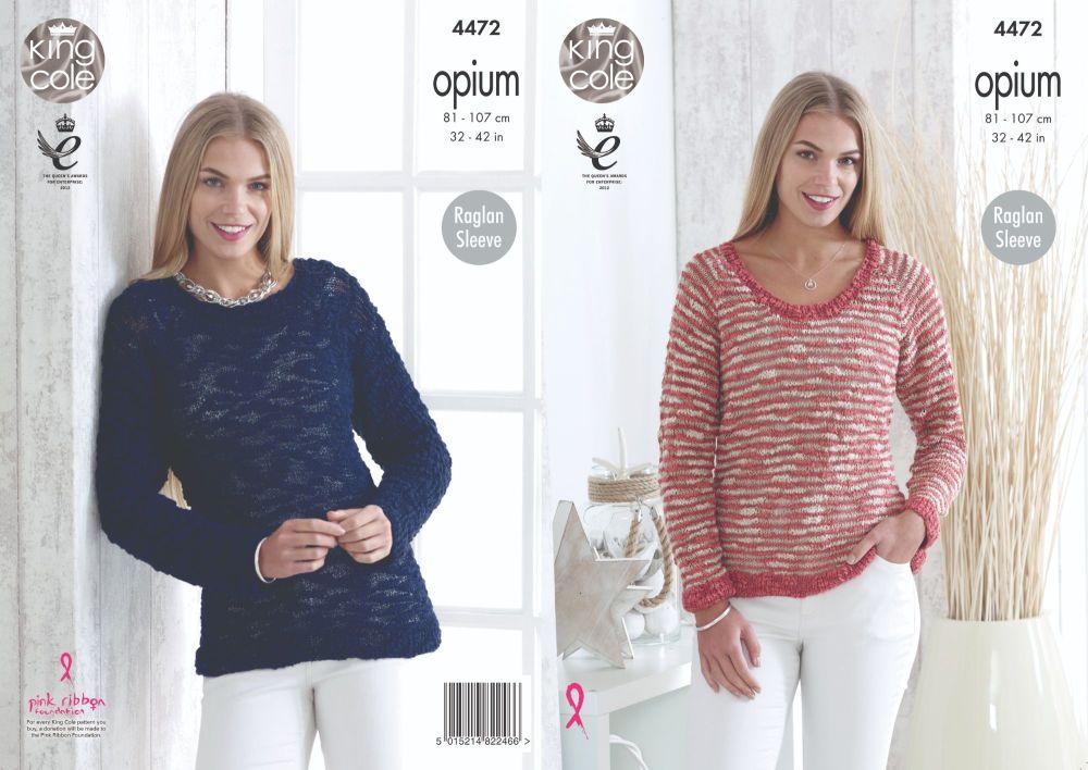 4472 Knitting Pattern - Sweaters in Opium with Raglan Sleeves 32 - 42