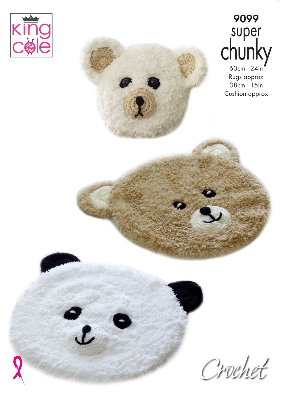 9099 Crochet Pattern - Crochet Teddy & Panda Rugs with Cushion