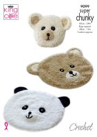 9099 Crochet Pattern - Crochet Teddy & Panda Rugs with Cushion