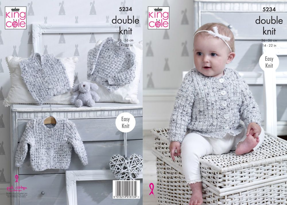 5234 Knitting Pattern - Babies Double Knit 14 - 22