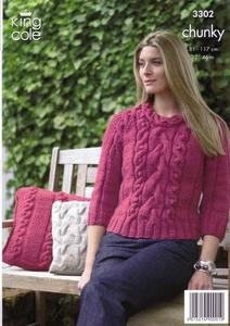 3302 Knitting Pattern - Chunky (Ladies)