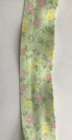 25mm Mint Green with Pink & Yellow Floral Bias Binding - Fantasia 8195