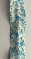 25mm White with Blue Floral Bias Binding - Fantasia 2201