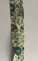 25mm Wide Bias Binding - Paisley Pattern Green on Cream