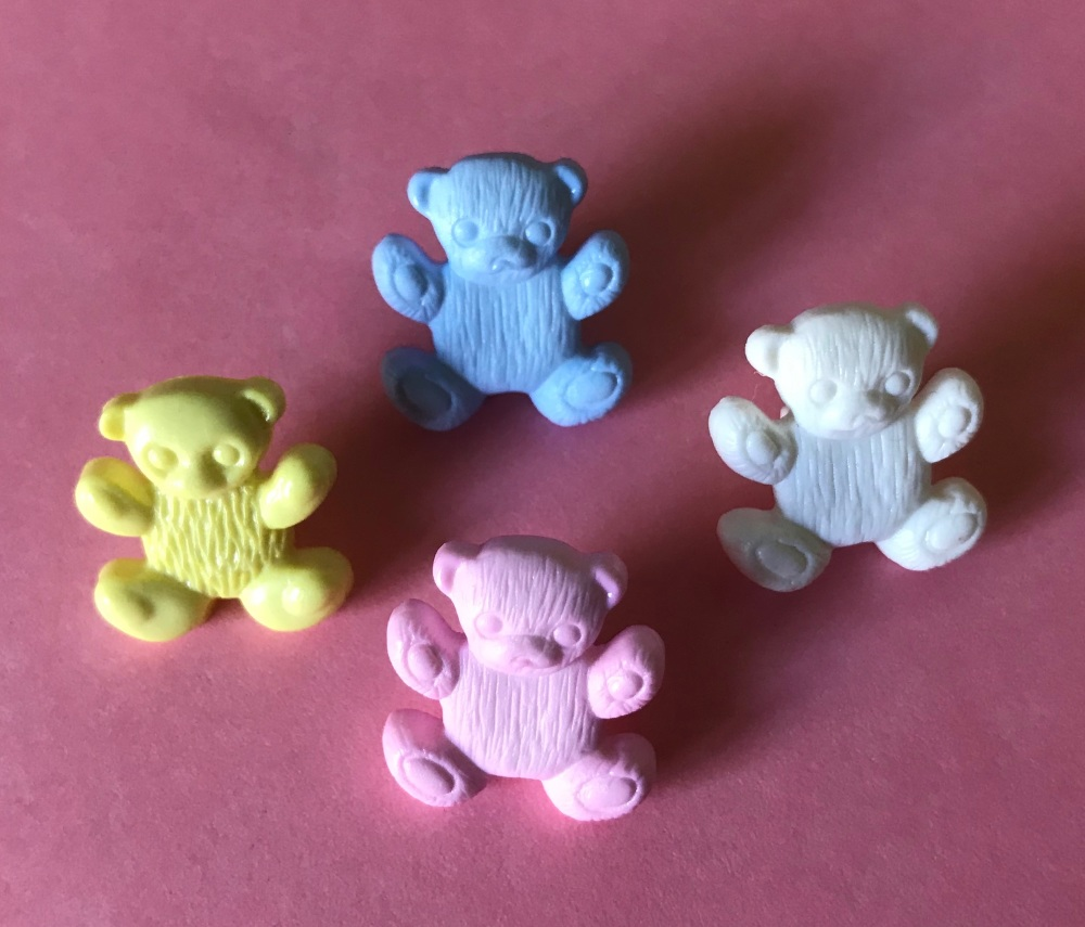 Teddy Bear Button - Lemon, White, Pink or Blue
