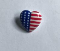 Button - Heart Shaped USA Stars & Stripes