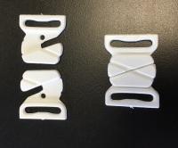 Plastic Bikini Clasps - White (Pk 2 pairs)