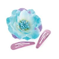 Turquoise & Purple Flower with Snap Clips - 31871
