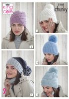 5185 Knitting Pattern - Ladies Hats in Chunky