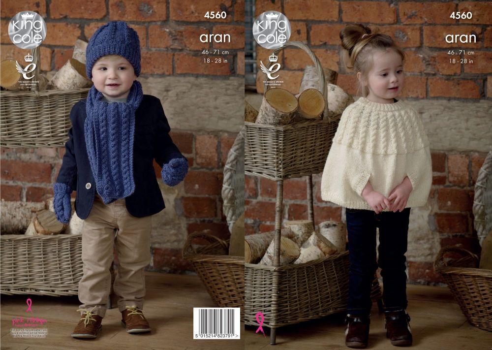 4560 Knitting Pattern - Children's Aran 46 -71cm 18 -28