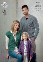 """4553 Knitting Pattern - Aran 26 - 44"""""""