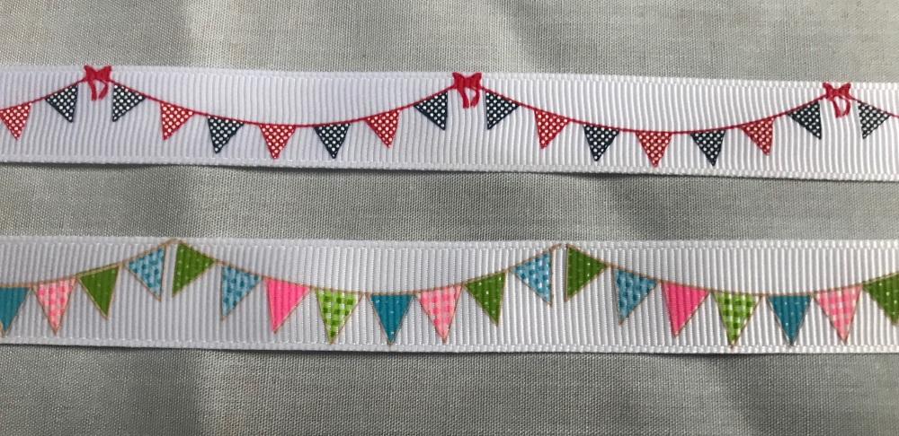 16mm Bunting Design Grosgrain Ribbon