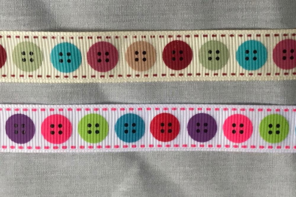 16mm Button Design Grosgrain Ribbon - Bright 029