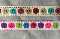 16mm Button Design Grosgrain Ribbon