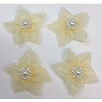 Chiffon Flower with pearls - Cream
