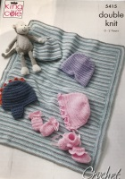 5415 Crochet Pattern - Baby Hat, Mitts, Bootees & Blanket DK