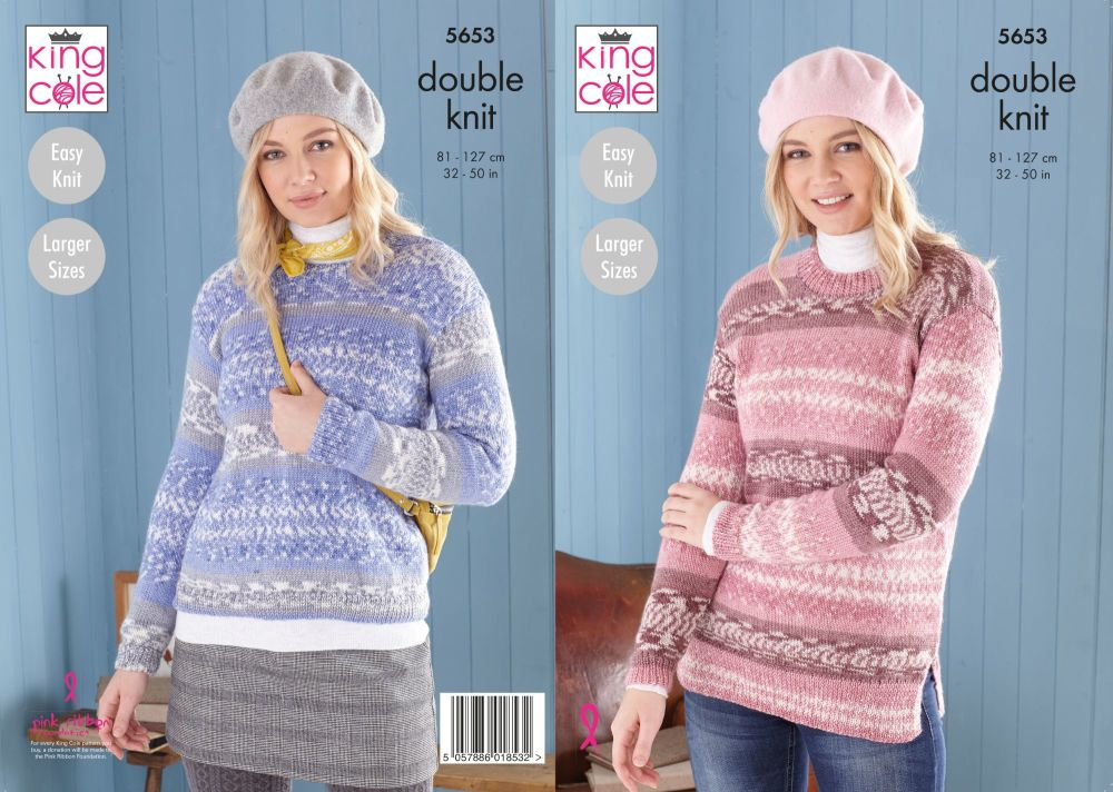 5653 Knitting Pattern - Ladies Easy Knit DK (Fjords)