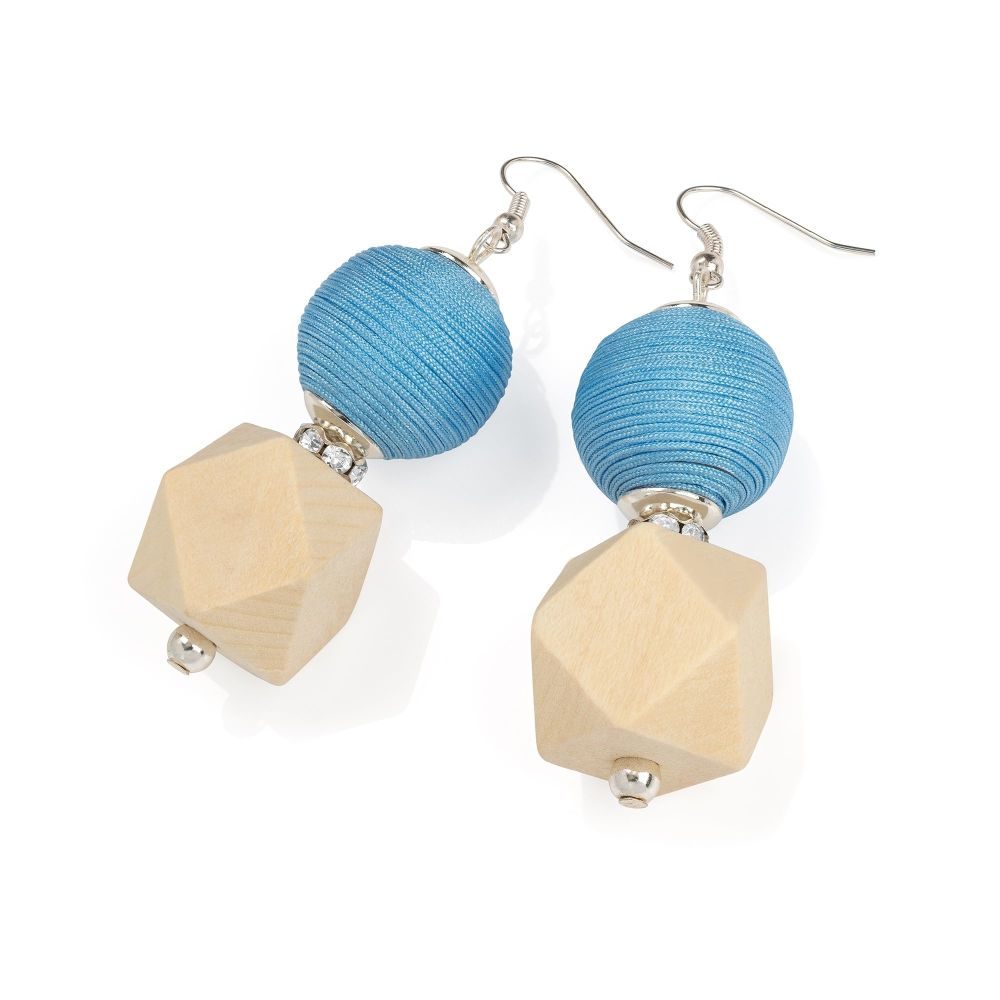 Earrings - Turquoise & Cream 324995