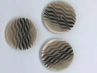 Brown & Beige Button with Wavy Lines - P1991/3