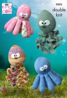 9092 Knitting Pattern - Octopus & Squid Toys in Double Knit