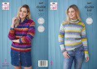 "5647 Knitting Pattern - Ladies Double Knit Sweater 32 - 50"""