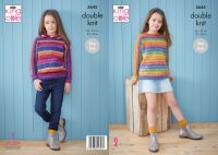 "5645 Knitting Pattern - Child's Sweater & Hoodie Double Knit 22 - 30"""