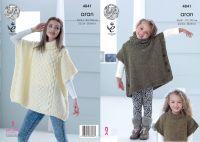 """4841 Knitting Pattern - Aran Tabbard Girls & Ladies 22/24 - 38/40"""""""