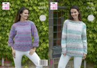 "5302 Knitting Pattern - Ladies Chunky Jumper 32 - 44"""