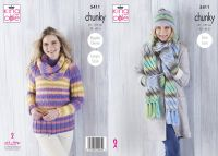 5411 Knitting Pattern in Chunky - Ladies Sweater, Cowl, Hat, Scarf & Mittens