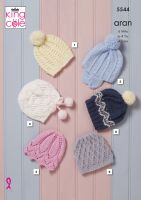 5544 Knitting Pattern in Aran - Hats 6 months - 4 Years