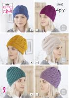 5463 Knitting Pattern - Ladies Hats in 4ply