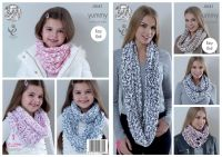 4541 Knitting Pattern - Ladies  Snoods in Yummy
