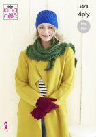 5474 Knitting Pattern - Ladies Wrap, Gloves & Hat