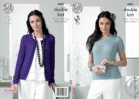 4401 Knitting Pattern - Ladies DK Sweater & Cardigan