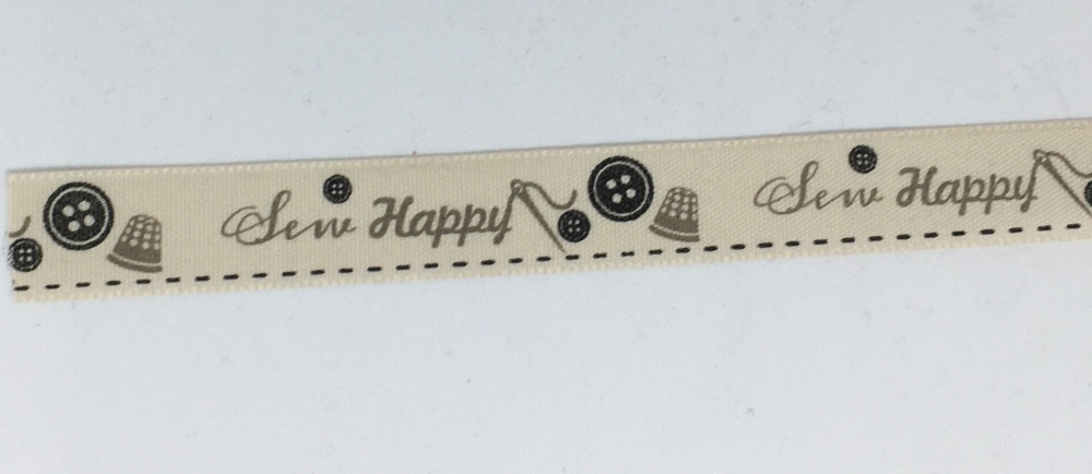 15mm Wide Sew Happy Ribbon