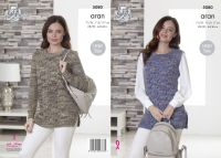 5080 Knitting Pattern - Ladies Aran Slipover & Sweater