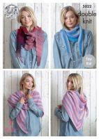 5022 Knitting Pattern - Easy Knit Scarfs in Double Knit