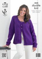 3840 Knitting Pattern - Ladies Double Knit 28/30 - 44/46