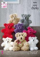9096 Crochet Pattern - Teddy Bear in Super Chunky