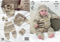 "4008 Knitting Pattern - Babies Double Knit 12 - 22"""
