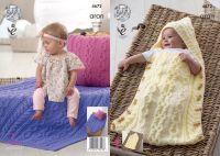 4672 Knitting Pattern -  Aran Baby Sleeping Bag, Cushion and Blanket