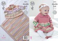 "4513 Knitting Pattern - Babies Double Knit 14 - 22"" Sweater, Cardigan & Blanket"
