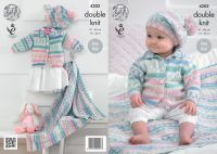 4202 Knitting Pattern - Double Knit, Babies Blanket, Cardigan and Beret