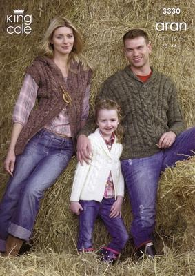 "3330 Aran Knitting Pattern - 28""-44"" (Family)*"