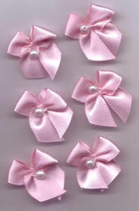 Small Bow with Pearl - Pale Pink (Pk 6)