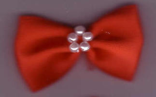 Bow with Pearls - Chunky Red 421-22P